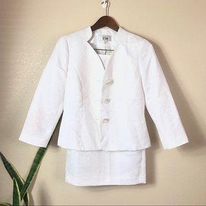 Le Suit || New 2pc White Suit Skirt Set